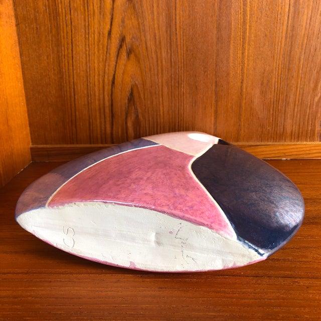 Pink Vintage 1980s Postmodern Ceramic Vase For Sale - Image 8 of 9