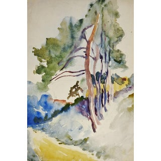 Tree-Lined Country Lane Watercolor Painting For Sale