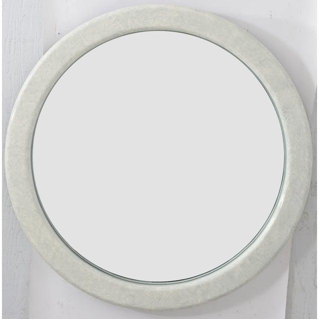 Karl Springer Large Round Karl Springer Style Mirror For Sale - Image 4 of 5