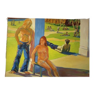 1970's Drew Bandish Painting of a Park Scene Oil on Canvas For Sale