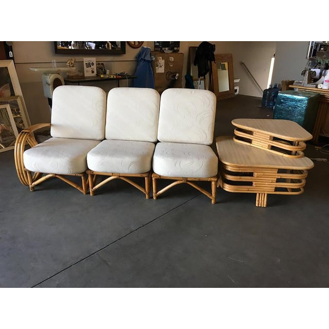 1950s Restored 3/4 Round Pretzel Rattan Three Seater Sofa With Two Tier Table For Sale - Image 5 of 11