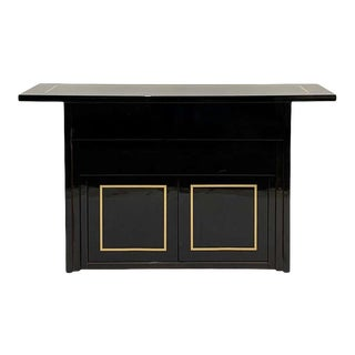 Black Lacquer Post-Modern 2 Drawer W. Cabinet Console / Bar / or Buffet For Sale