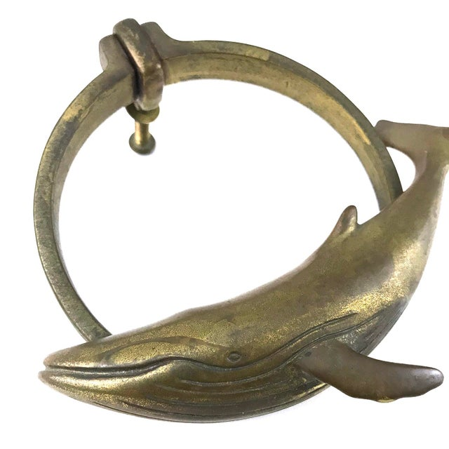 Brass humpback whale door knocker. Perfect nautical decor for any beach house. Comes with screw -- ready to be installed.