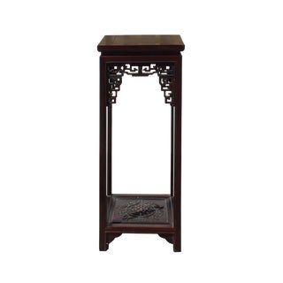 Chinese Huali Dark Brown Square Carving Plant Stand Pedestal Table For Sale
