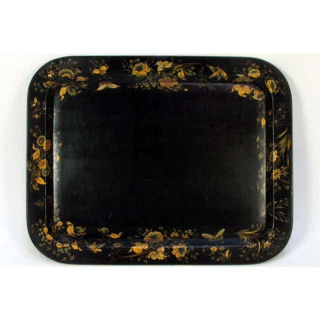 Asian Antique 19th Century Gilt & Hand-Painted Papier Mache Tray With Faux Bamboo Table Stand For Sale - Image 3 of 7