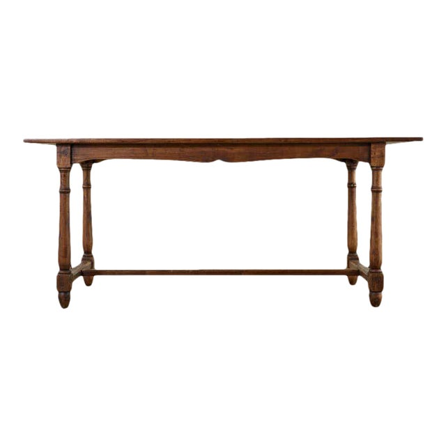 Country English Provincial Oak Farmhouse Trestle Dining Table For Sale