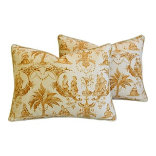 "Clarence House Chinoiserie Toile Fabric & Velvet Feather/Down Pillows 24"" X 18"" - Pair For Sale"