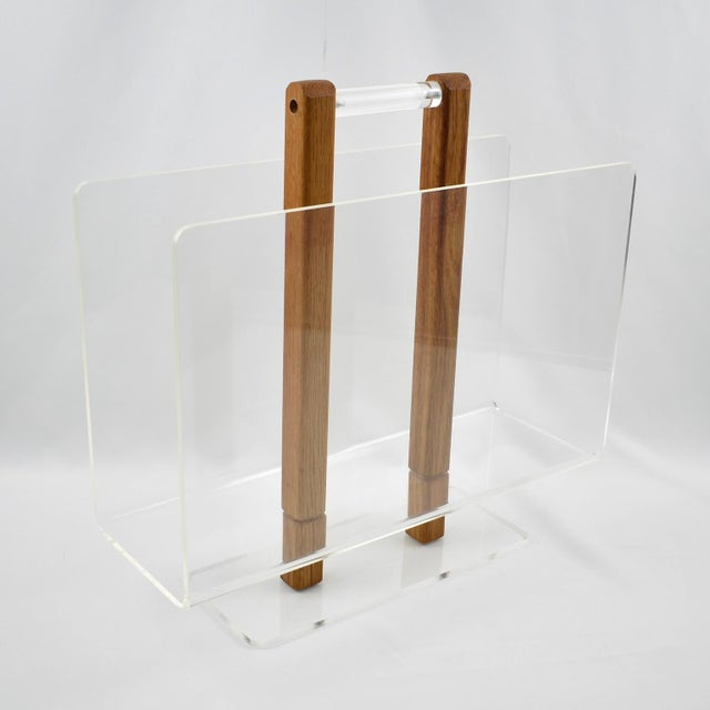 Wood Grosfeld House 1970s Lucite and Oak Wood Magazine Rack Stand For Sale - Image 7 of 7