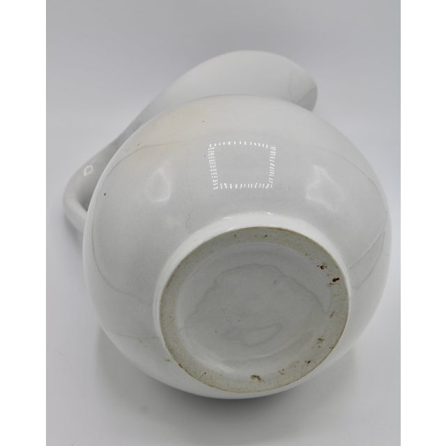 Large Vintage White Ironstone Ceramic Pitcher For Sale In Tulsa - Image 6 of 10