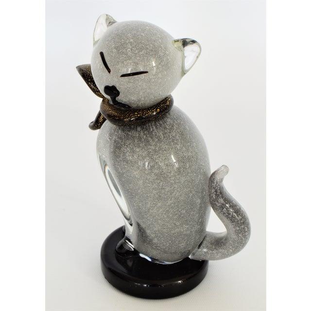 Rare Vintage Murano Glass Cat Figurine By Alfredo Barbini For