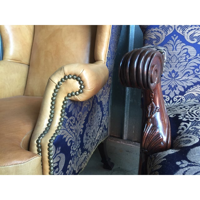 Mahogany Library & Wing Chair - Pair - Image 10 of 11
