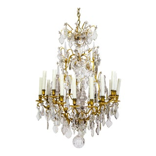 18-Arm Gilded Bronze Birdcage Chandelier For Sale