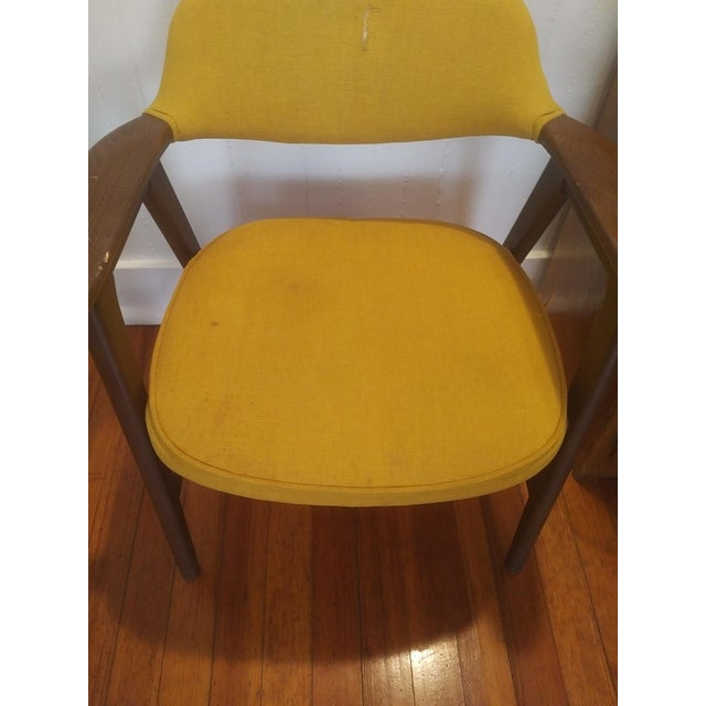 1960s Danish Modern Paoli Yellow Padded Chair For Sale - Image 9 of 11