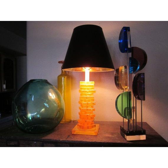 Modernist Orange Stacked Lucite Lamp For Sale - Image 4 of 10