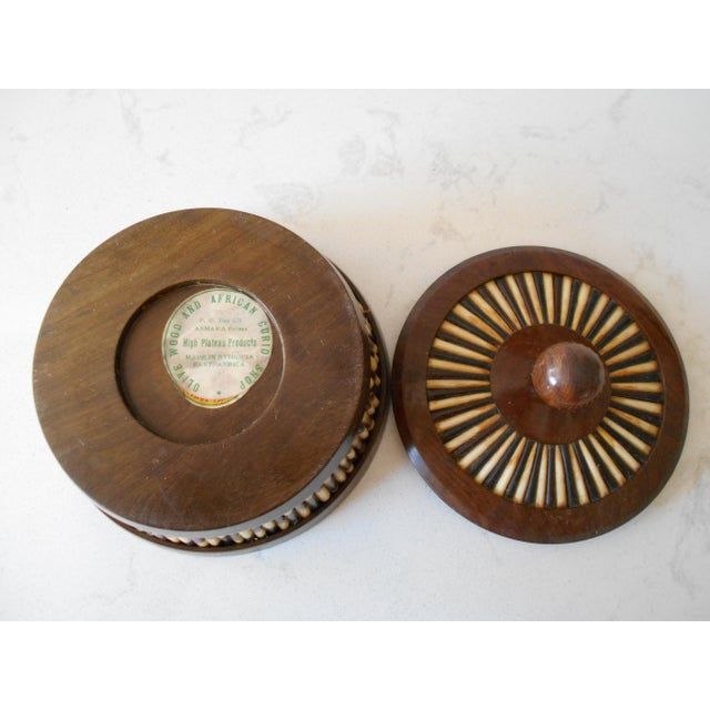 Ethiopian Olive Wood & Porcupine Quill Lidded Bowl For Sale In Los Angeles - Image 6 of 6