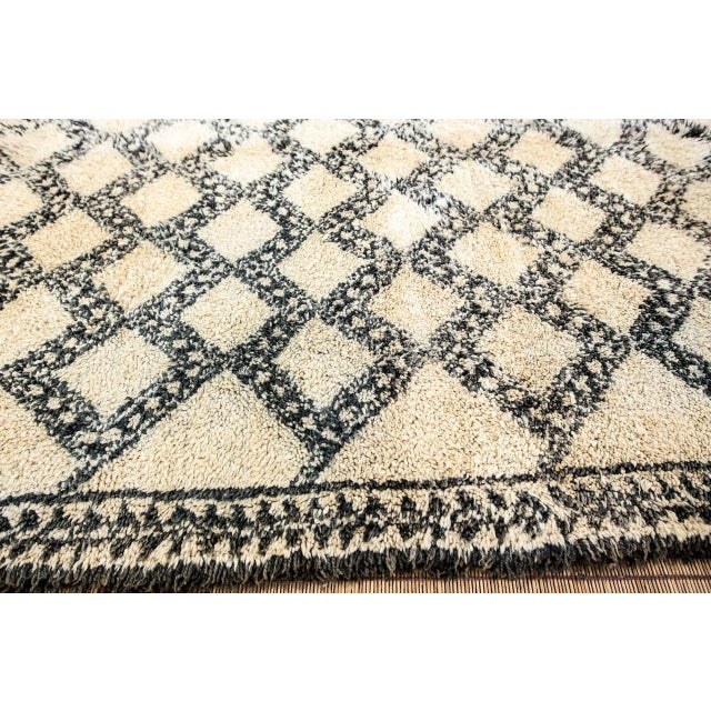 Textile Vintage Moroccan Beni Ouarain Shaggy Tribal Rug North Africa For Sale - Image 7 of 9