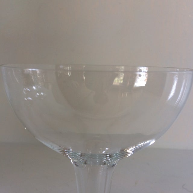 Vintage Italian Half Sphere Hollow Stem Crystal Champagne Glasses - Set of 8 For Sale - Image 10 of 13