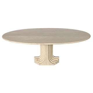 "Carlo Scarpa ""Samo"" Oval Travertine Pedestal Dining Table For Sale"