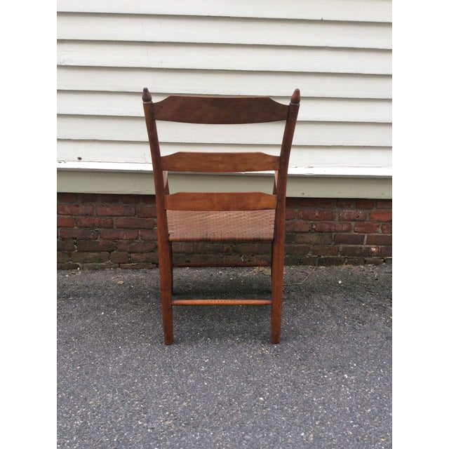 Early 19th Century Antique New England Ladder Back Arm Chair For Sale In Boston - Image 6 of 7