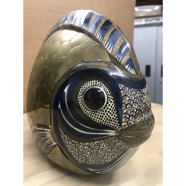 Vintage Tonala Brass and Ceramic Fish For Sale In Boston - Image 6 of 7