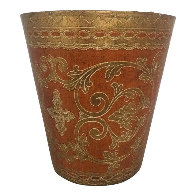Vintage Round Florentine Wood Wastebasket - Image 1 of 5