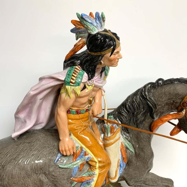 American Indian on Horseback, by Scheibe Alsbach / Volkstedt Porcelain For Sale - Image 9 of 13