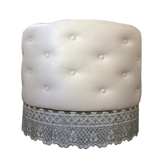 White Mother of Pearl Inlay Large Ottoman For Sale - Image 8 of 8