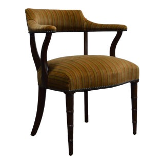 Mid Century Mahogany Regency Style Barrel Library Chair With Faux Bamboo Legs For Sale