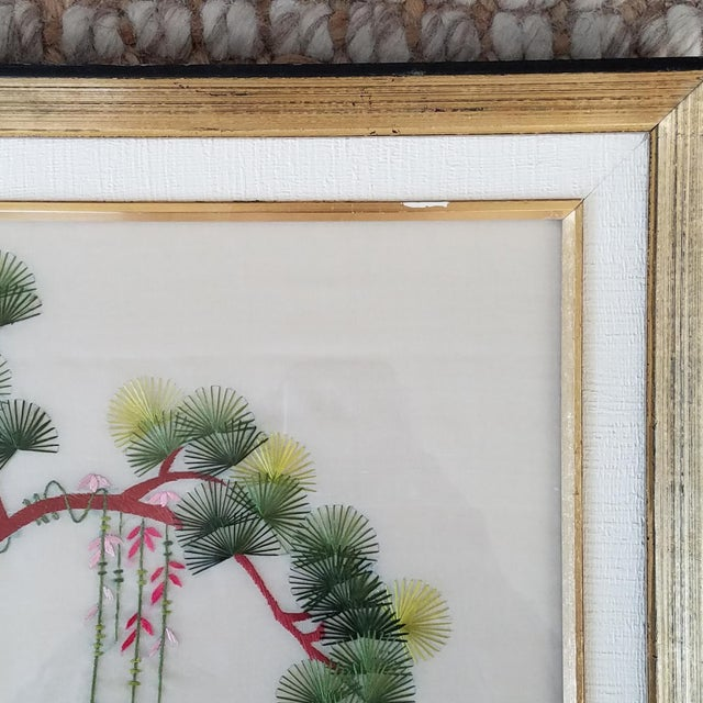 Green Vintage Chinese Suzhou Embroidery Peacock Art For Sale - Image 8 of 10