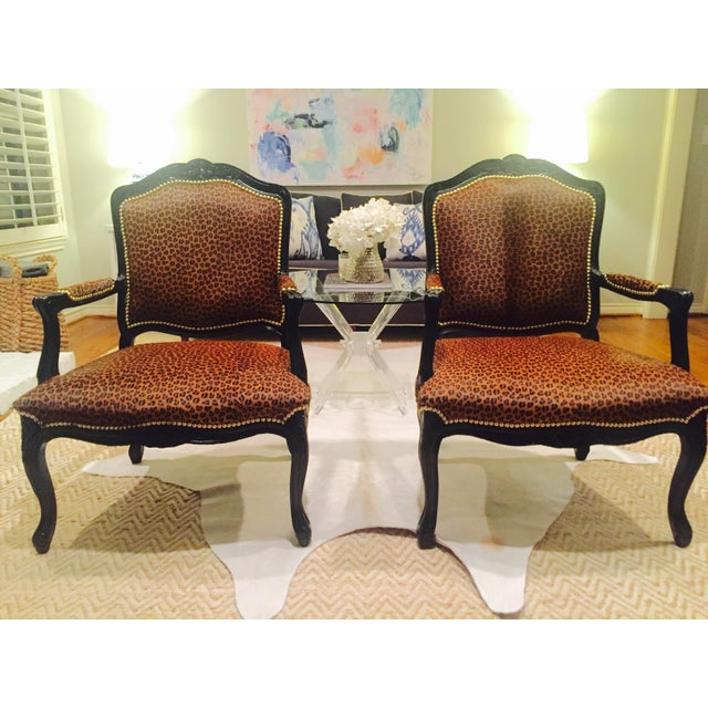 "French Black Lacquered ""Leopard"" Armchairs - Pair - Image 9 of 9"