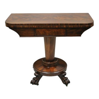 American Empire Crotch Flame Mahogany Paw Feet Pedestal Base Console Game Table For Sale
