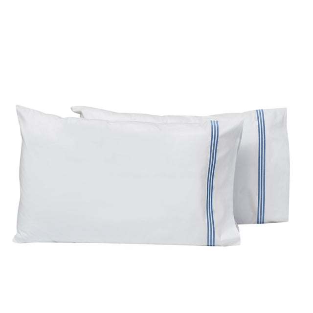 Platinum King Pillowcases in White and Air Force Blue - a Pair For Sale - Image 4 of 4