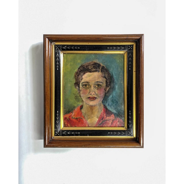 Vintage Oil Painting, Portrait of Women With Antique Victorian Frame For Sale In New York - Image 6 of 6