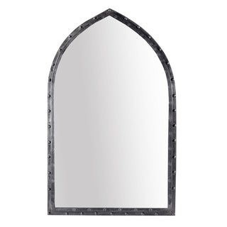 Iron Rivet Arched Mirror For Sale