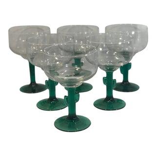 Vintage Green Cactus Stem Margarita Glasses - Set of 6 For Sale