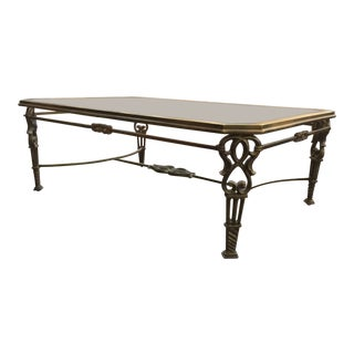 Early 20th Century Antique Brass Glass Coffee Table For Sale