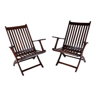 1930s Folding Rosewood Steamer Chairs - a Pair For Sale