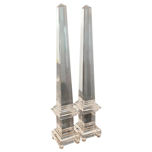 Monumental Pair of Footed Lucite Obelisks For Sale