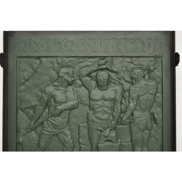 Art Deco 19th Century Art Deco Cast Iron Fireback Figural Foundry Worker Depiction For Sale - Image 3 of 13