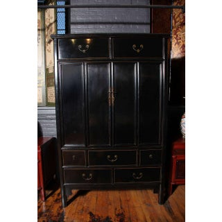 Elmwood Tall Double Door Black Lacquered Chest From China, 20th Century Preview