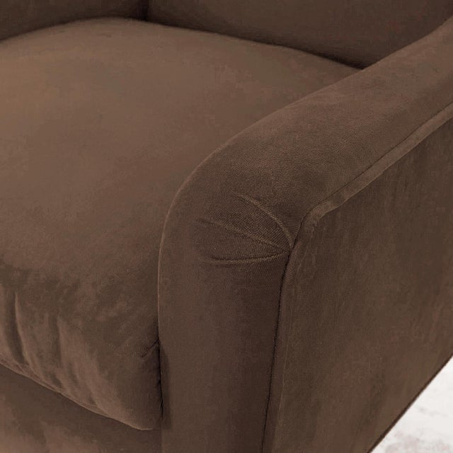 Paul McCobb Tan Doeskin Cotton Velvet Upholstered Chairs With Brass Legs - a Pair For Sale - Image 4 of 5