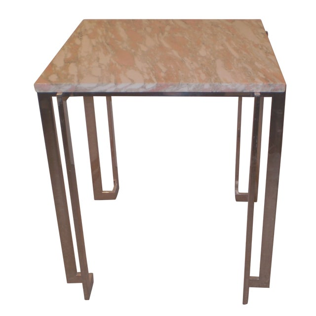 Chrome & Marble Occasional Table - Image 1 of 5