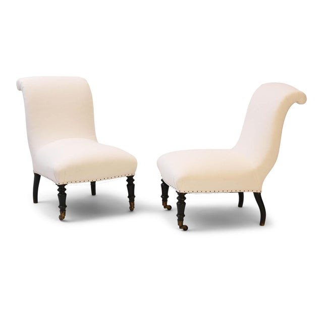 Napoleon III Slipper Chairs- A Pair For Sale - Image 10 of 10