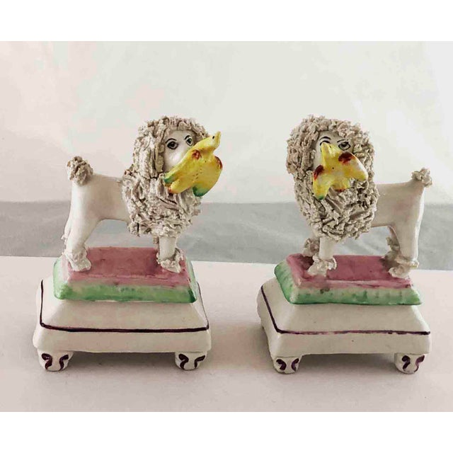 Late 19th Century Staffordshire Poodles Retrieving Birds - a Pair For Sale - Image 10 of 10