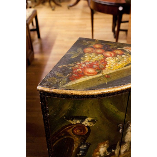 Up for sale is a vintage English painted cabinet. Weight: 75 lbs Dimensions (in inches): L 28.5 x H 33.75 x W 20