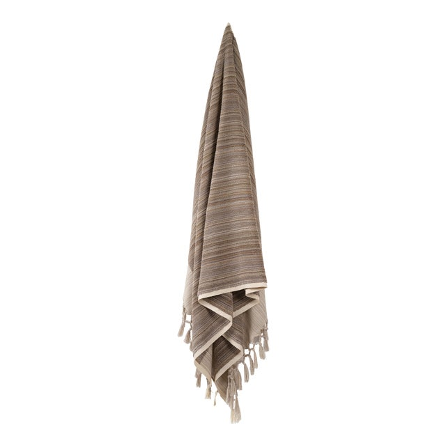 Earth Lines Handmade Organic Cotton Towel in Tan For Sale