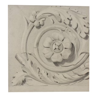 Eugene Fourault Bas Relief Motif Study in Charcoal, 1881 For Sale