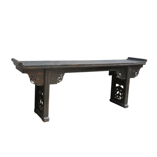 1940s Antique Chinese Elm Altar Console Table For Sale - Image 5 of 10