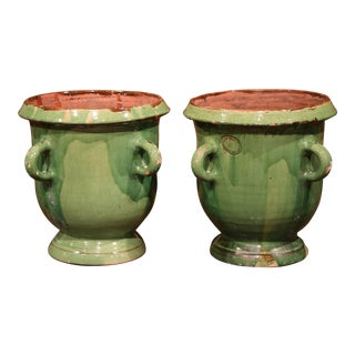 Large Pair of Mid-20th Century French Four-Handle Green Planters from Provence For Sale