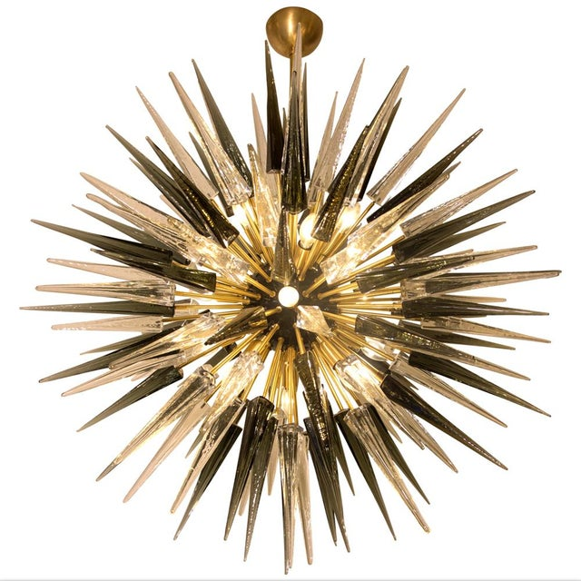 Sputnik ceiling light, Hand blown grey and clear colour Murano glass components on brass structure , black lacquered...